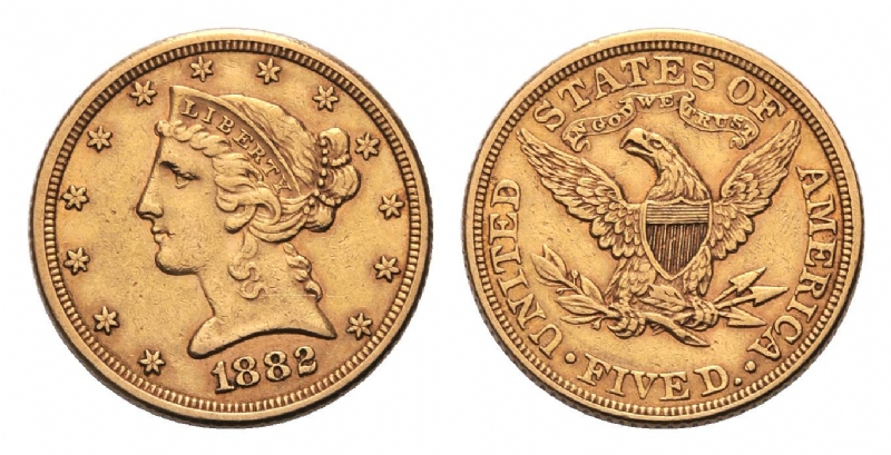 Liberty 5 dollari gr. 8,36 in oro 900/000