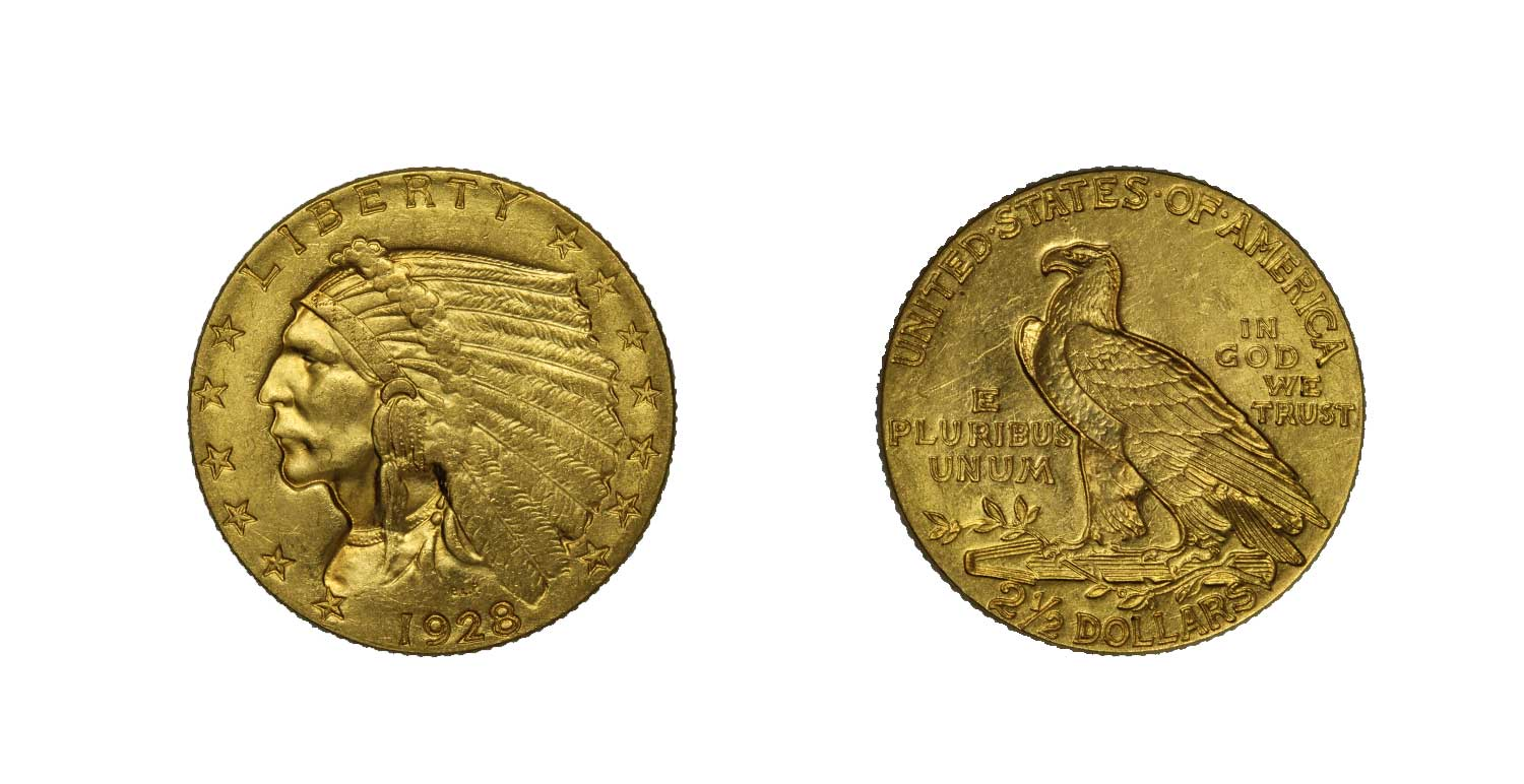 Indiano 2,5 dollari gr. 4,18 in oro 900/000
