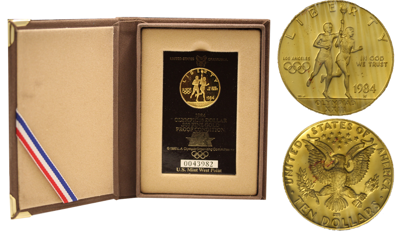Olimpiadi Los Angeles - 10 dollari gr. 16,71 in oro 900/000 - conf. originale