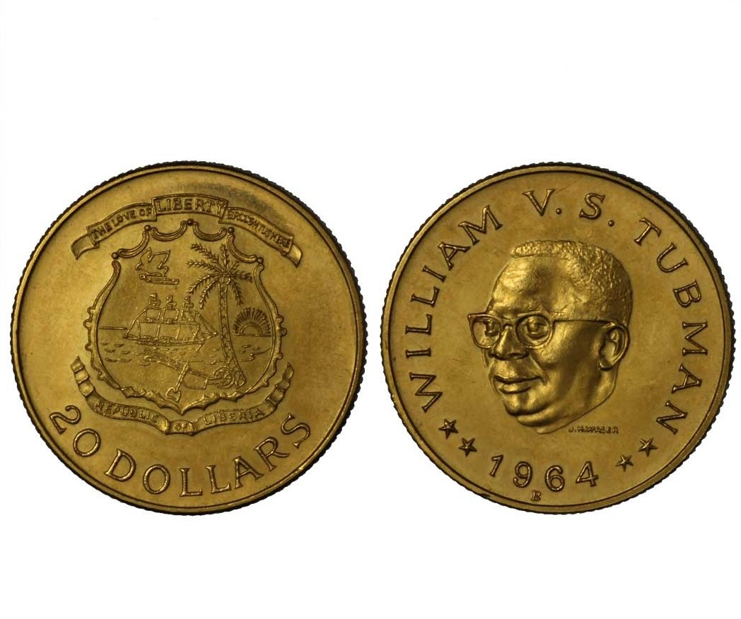 Presidente Tubman - 20 dollari gr. 18,65 in oro 900/000