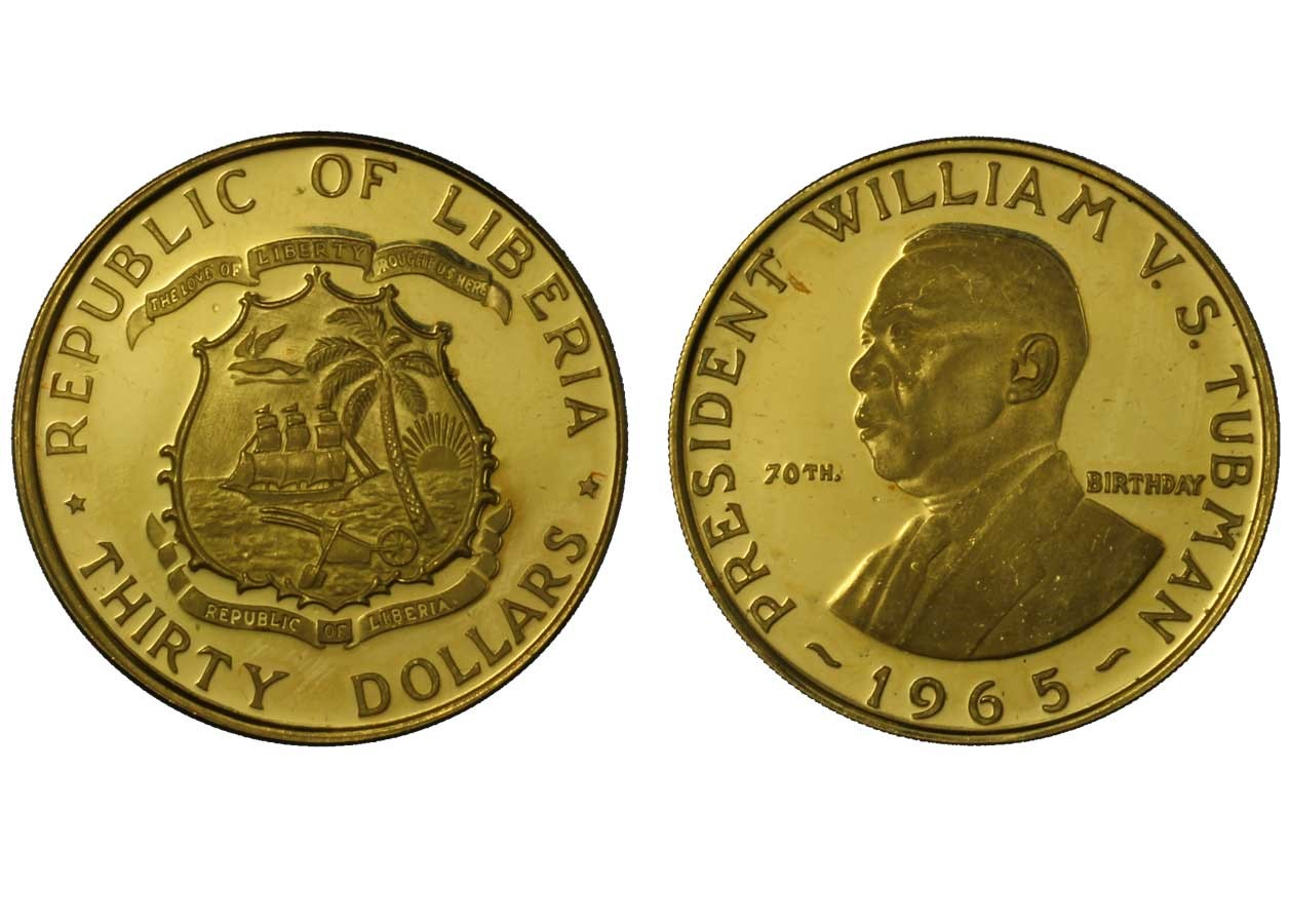 Presidente Tubman - 30 dollari gr. 15,00 in oro 900/000