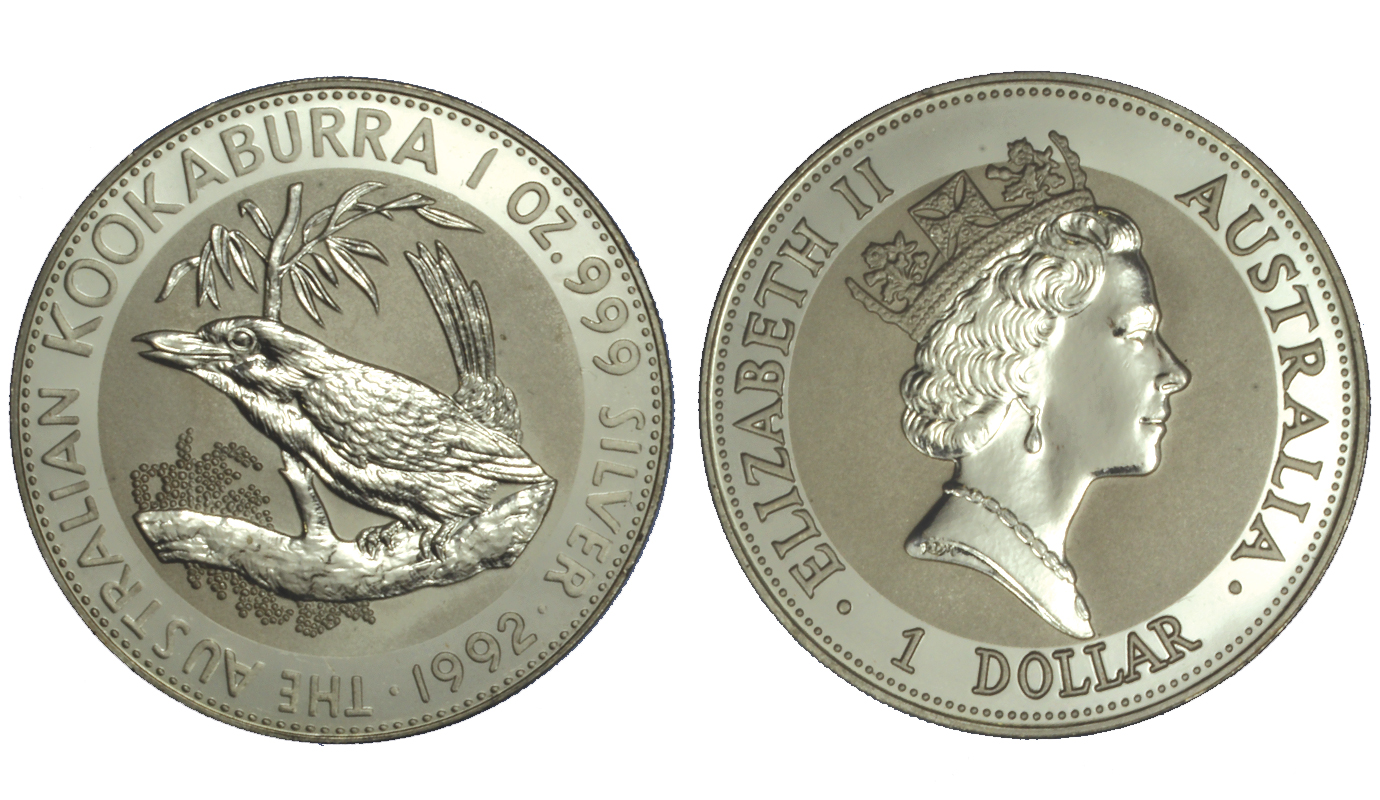 """Kookaburra"" - moneta da 1 dollaro gr. 31,103 (1 oz) in argento 999/°°°"