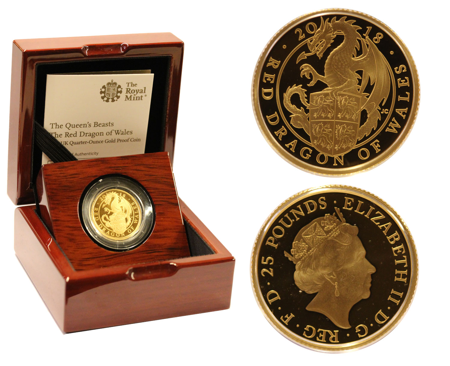 """The Red Dragon of Wales"" - 25 pounds gr. 7,80 in oro 999/000"