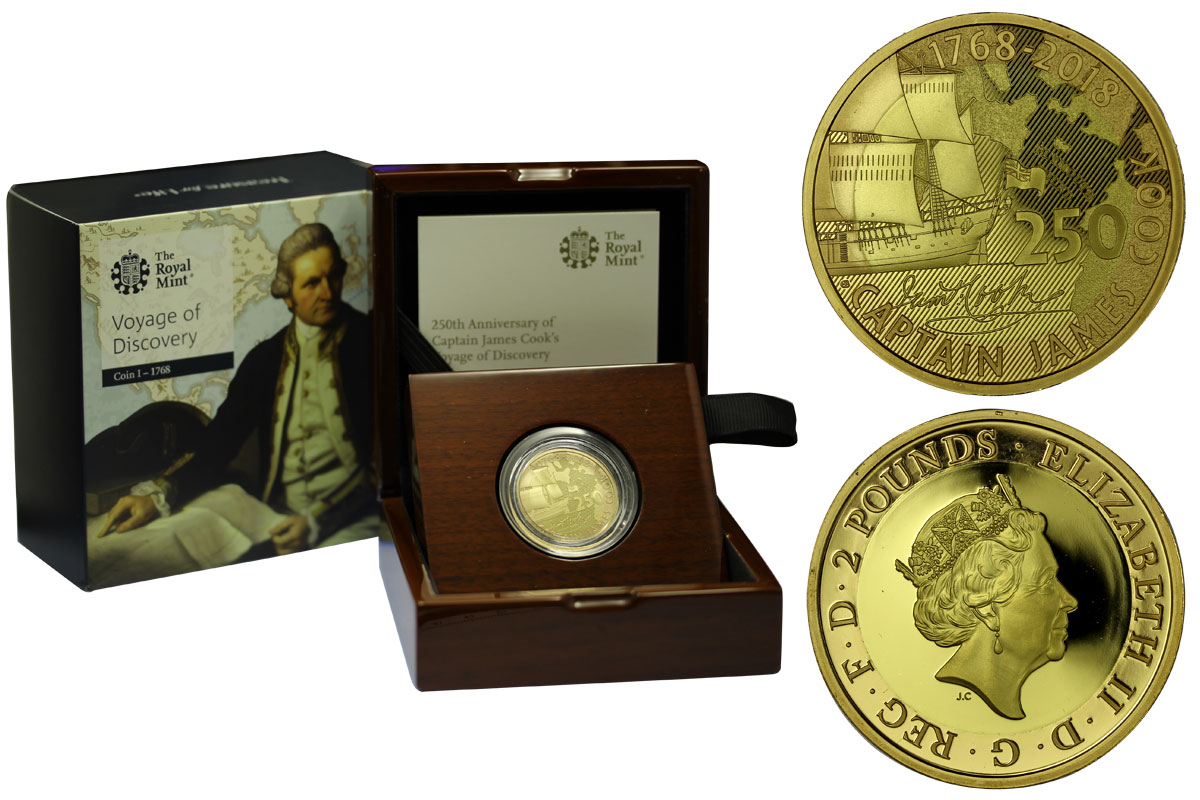 """James Cook - 1° emissione"" - 2 pounds gr. 15,97 in oro 917/00 - Tiratura 350 pezzi"