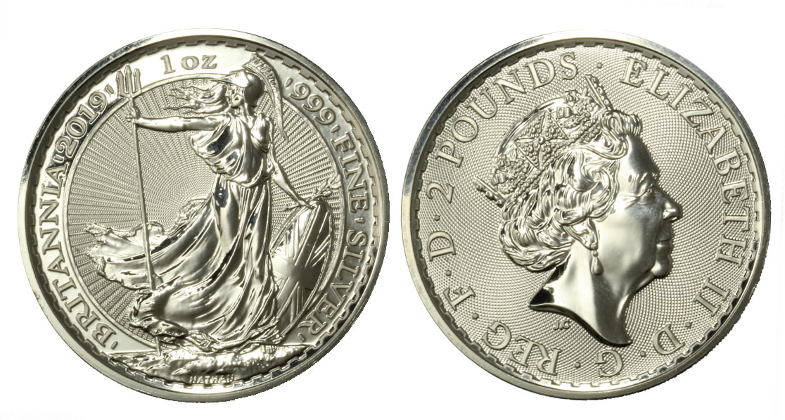Britannia - moneta da 2 pounds (1 oncia) gr. 31,10 in ag. 999/°°°
