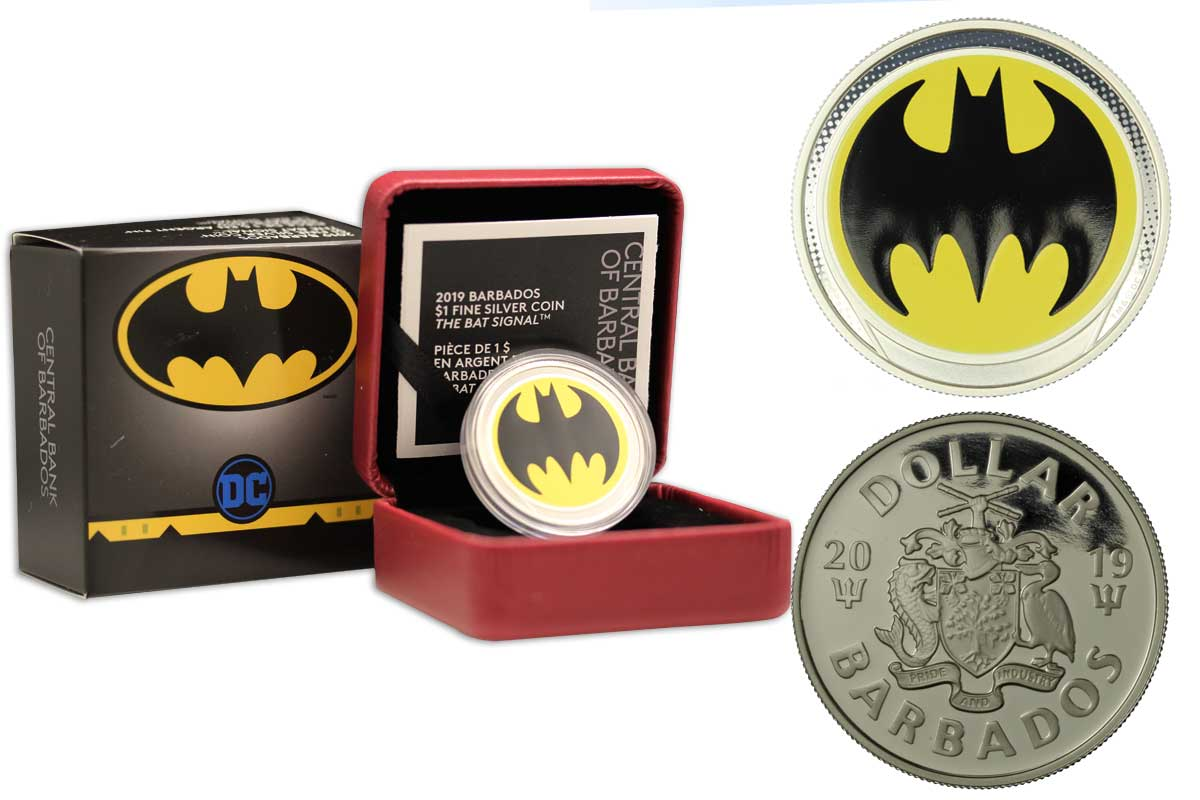 """Bat signal di Batman"" moneta da 1 dollaro, gr. 23,17 in ag. 999/°°°"