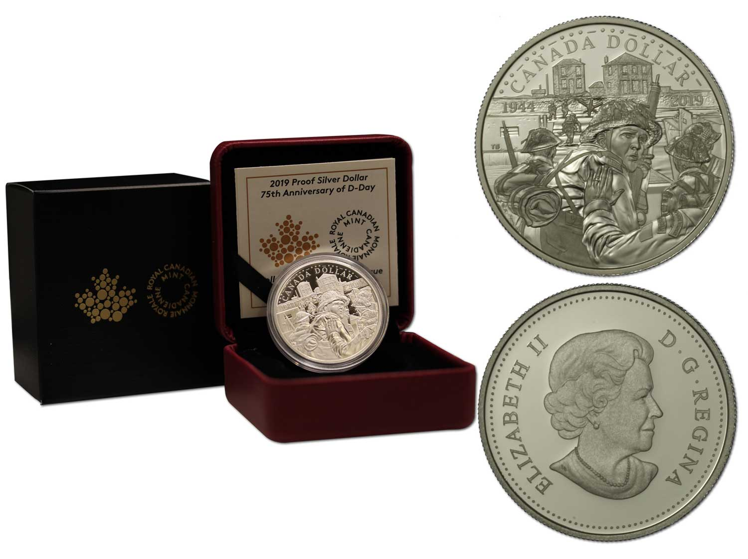 """75° anniversario del D-Day"" - Moneta da 1 dollaro gr. 23,17 in argento 999/000"