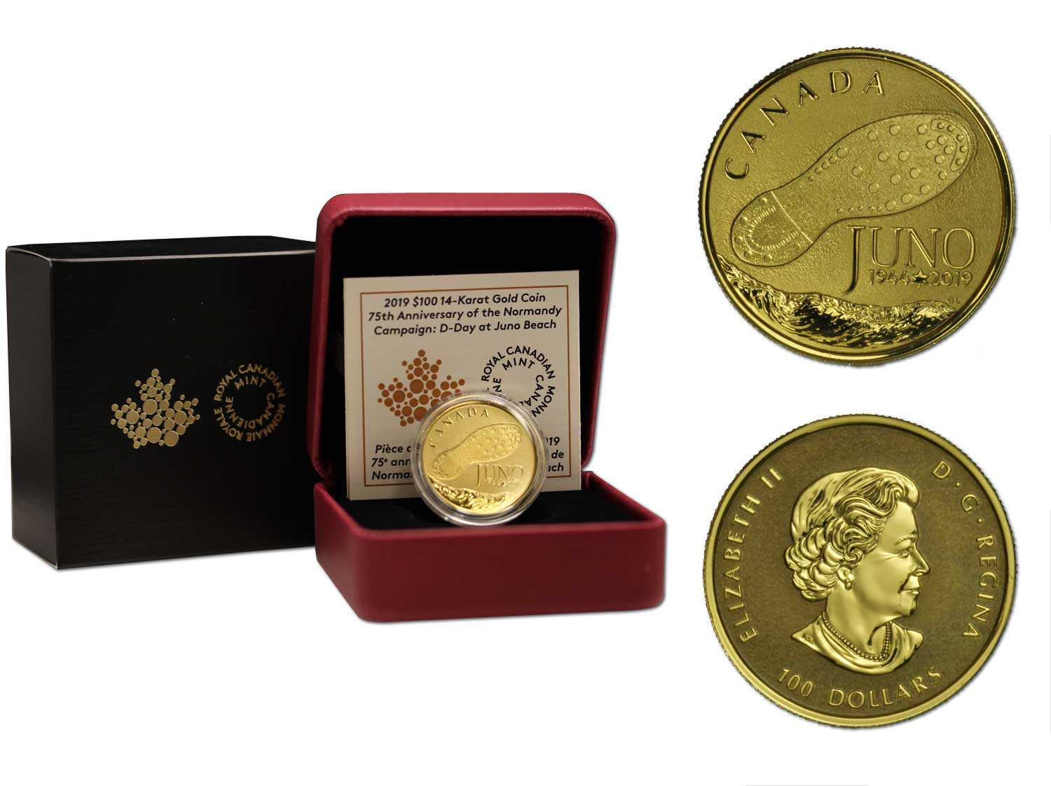 """75° anniversario del D-Day"" - Moneta da 100 dollari gr. 12,00 in oro 585/000"