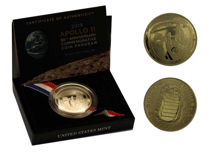 """50° Anniversario dell'Apollo 11"" - Moneta concava da 1/2 dollaro in nickel"