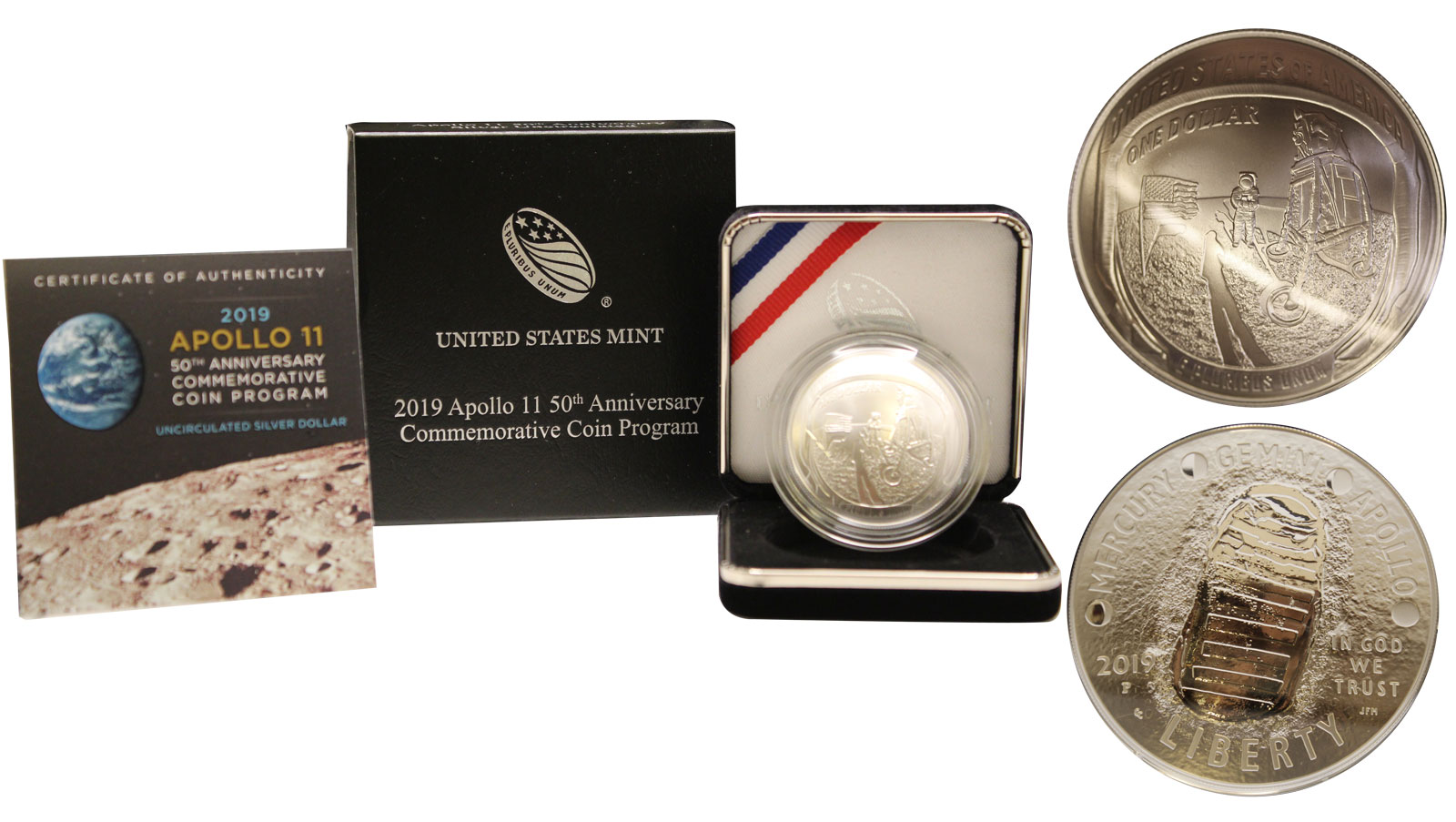 """50° Anniversario dell'Apollo 11"" - Moneta concava da 1 dollaro gr. 26,73 in ag. 999/°°°"