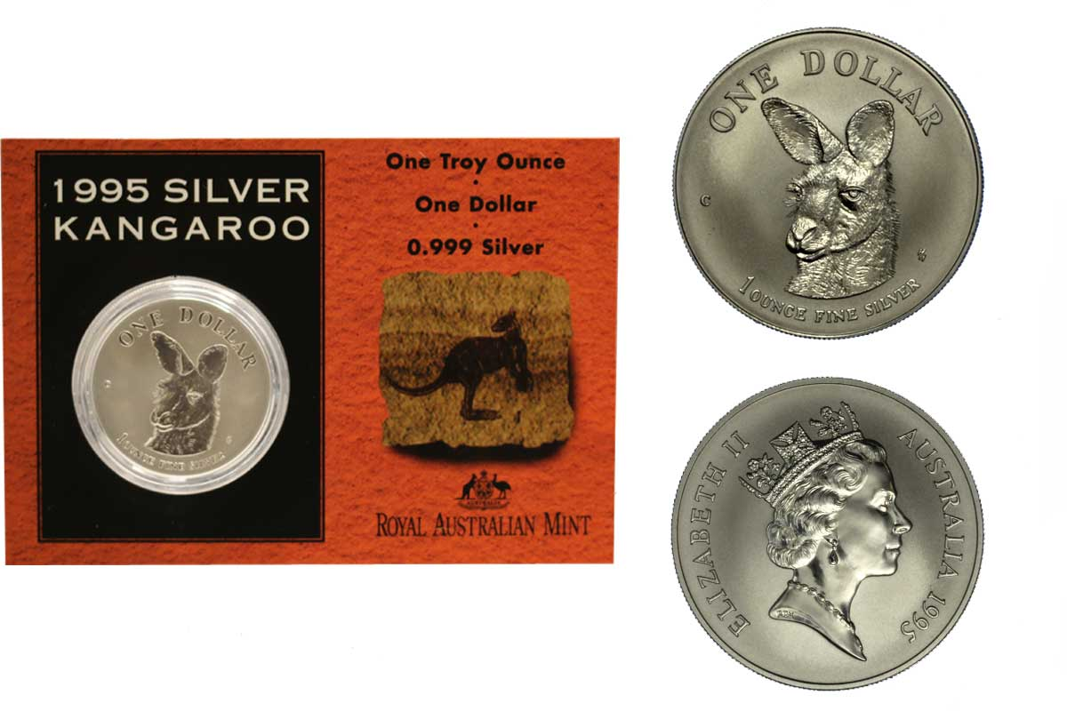 """Canguro"" - moneta da 1 dollaro gr. 31,103 (1 oz) in argento 999/°°° in folder ufficiale"
