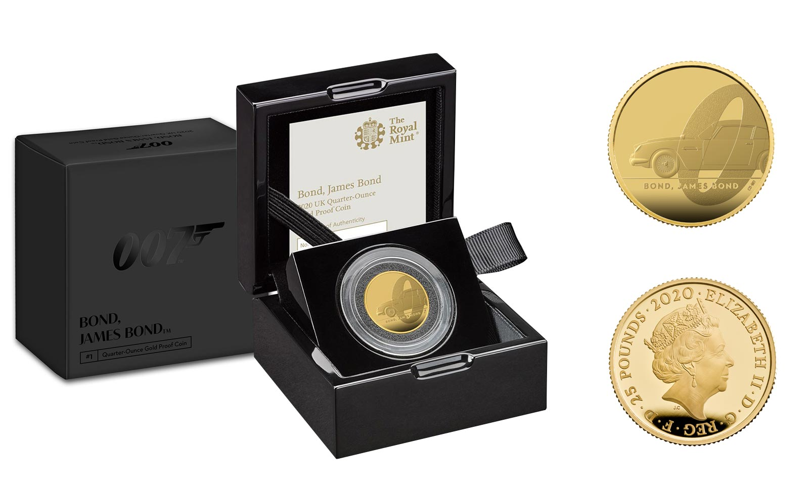 """James Bond"" - 25 pounds gr. 7,80 in oro 999/000 - Tiratura 1007 pezzi"