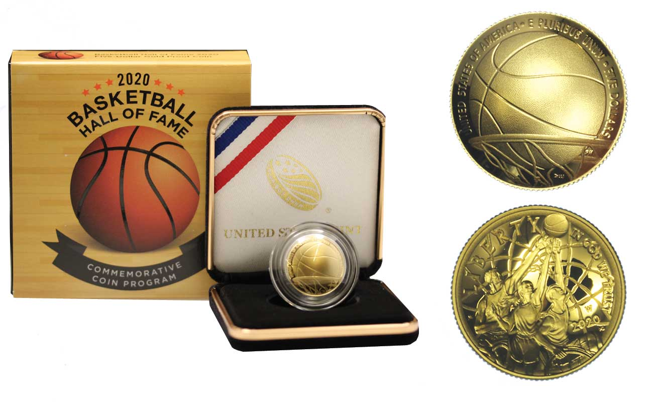 """Basket Hall of Fame"" - Moneta concava da 5 dollari gr. 8,35 in oro 900/000"