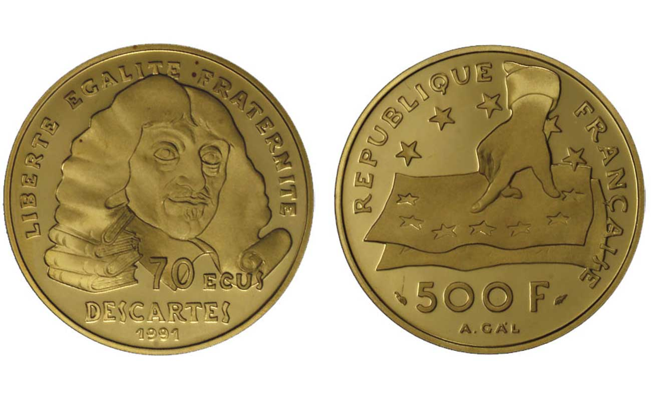 """Cartesio"" - 500 franchi/70 ecu gr. 17,00 in oro 920/000"