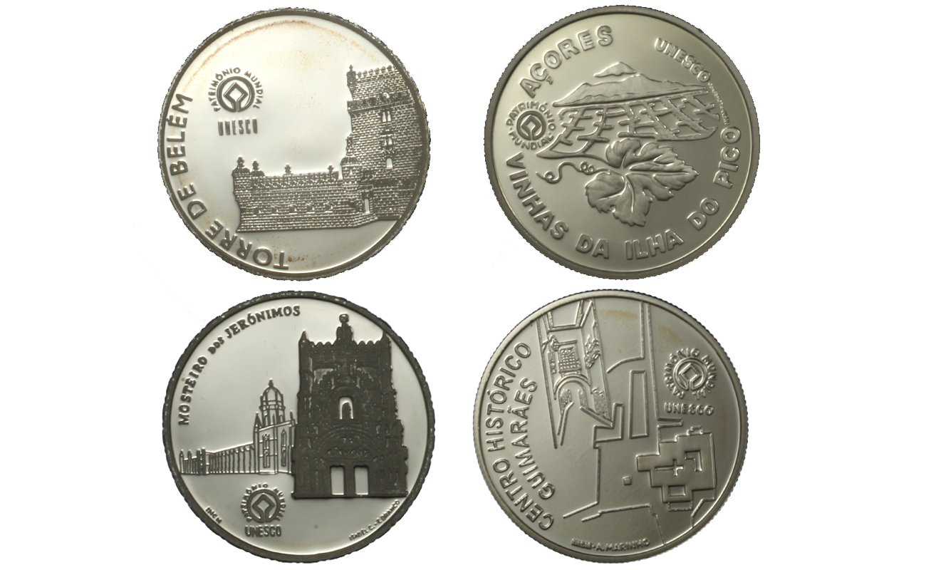 """Patrimonio Unesco"" lotto da 4 monete differenti da 2,5 euro gr. complessivi 48,00 in ag. 925/000"