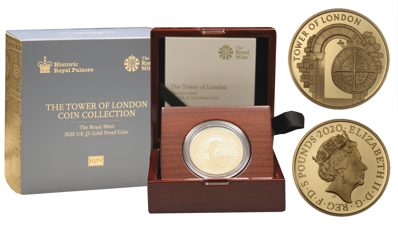 """The Tower of London III - Royal Mint"" - 5 sterline gr. 39,94 in oro 917/000 - Tiratura 135 pezzi"